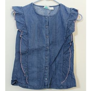 Roxy Denim Button Front Ruffle Top